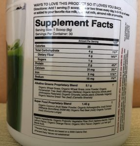 Organifi Green Juice Nutrition Facts Image